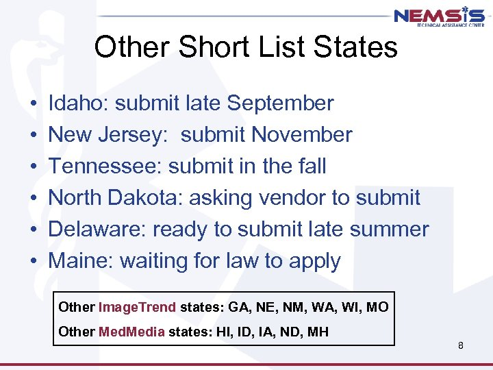 Other Short List States • • • Idaho: submit late September New Jersey: submit