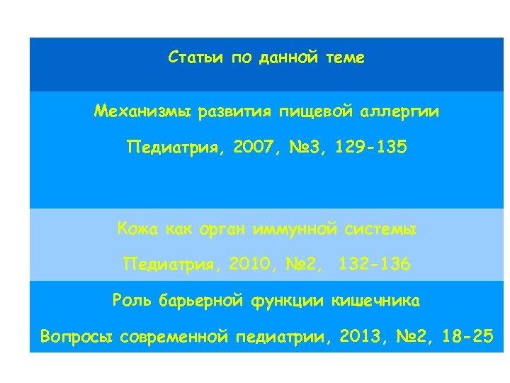 Статьи по данной теме Механизмы развития пищевой аллергии Педиатрия, 2007, № 3, 129 -135