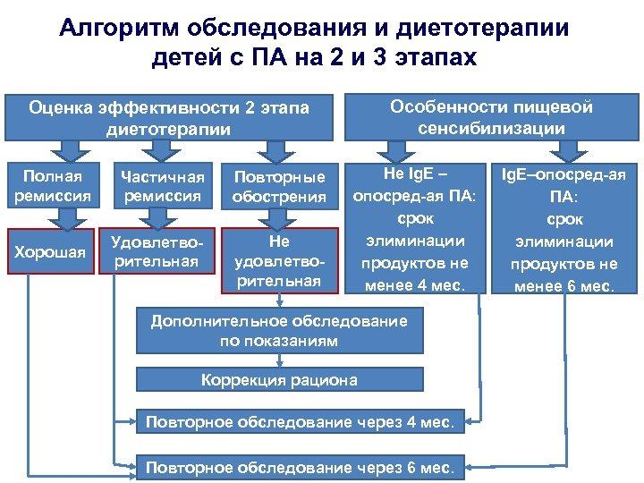 Алгоритм обследования и диетотерапии детей с ПА на 2 и 3 этапах Особенности пищевой