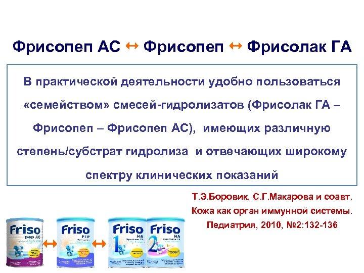 Фрисопеп АС Фрисопеп Фрисолак ГА В практической деятельности удобно пользоваться «семейством» смесей-гидролизатов (Фрисолак ГА