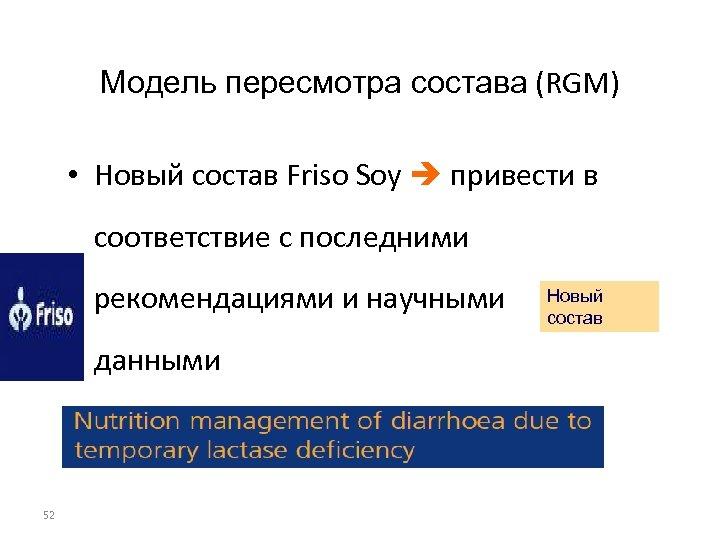 Модель пересмотра состава (RGM) • Новый состав Friso Soy привести в соответствие с последними
