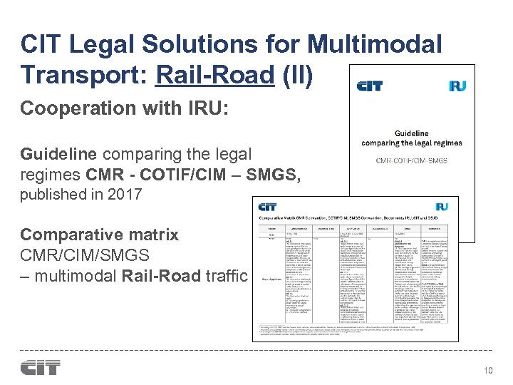 CIT Legal Solutions for Multimodal Transport: Rail-Road (II) Cooperation with IRU: Guideline comparing the