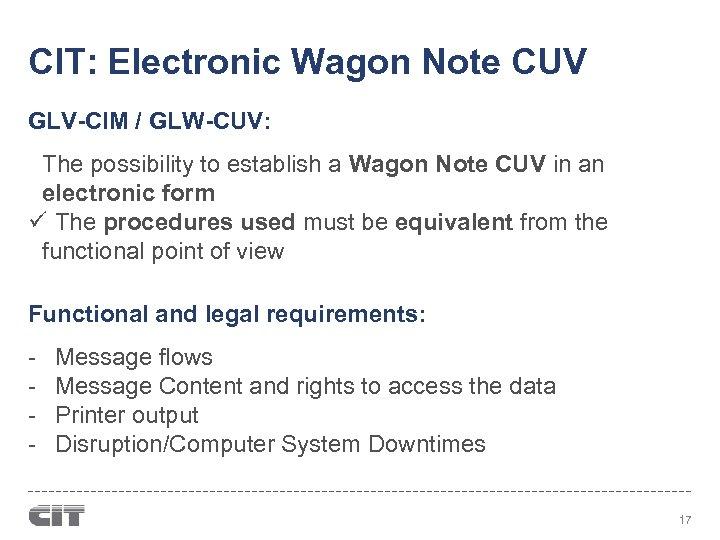 CIT: Electronic Wagon Note CUV GLV-CIM / GLW-CUV: The possibility to establish a Wagon