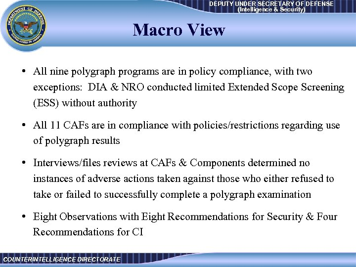 DEPUTY UNDER SECRETARY OF DEFENSE Intelligence Security