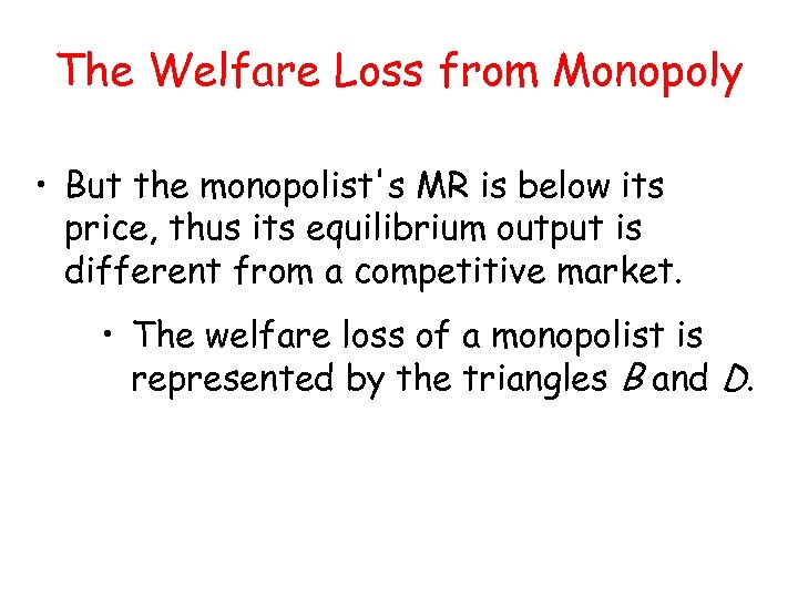 The Welfare Loss from Monopoly • But the monopolist's MR is below its price,
