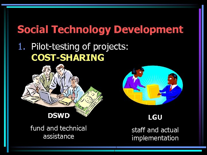 Social Technology Development 1. Pilot-testing of projects: COST-SHARING DSWD LGU fund and technical assistance