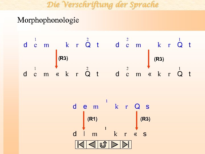 Die Verschriftung der Sprache Morphophonologie (R 3) (R 1) (R 3)