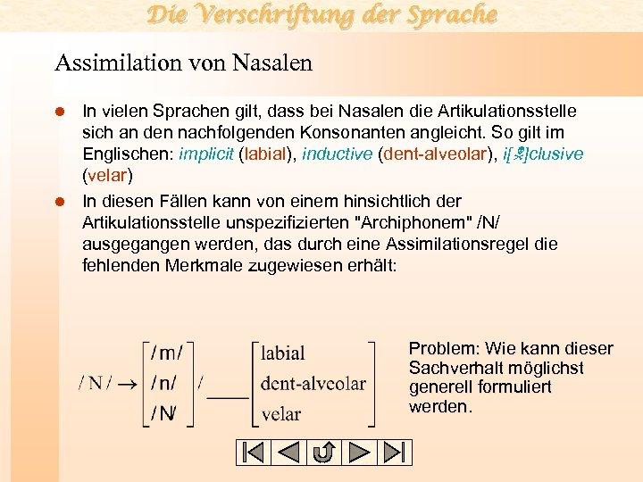 Die Verschriftung der Sprache Assimilation von Nasalen In vielen Sprachen gilt, dass bei Nasalen
