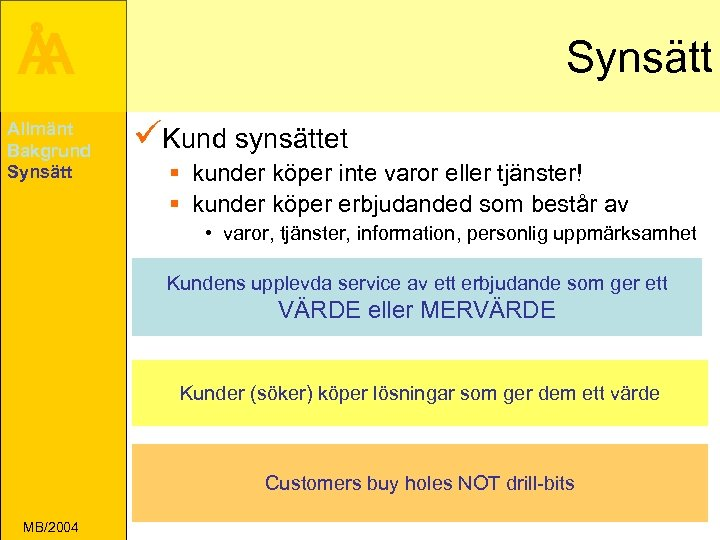 Å A Allmänt Bakgrund Synsätt üKund synsättet § kunder köper inte varor eller tjänster!