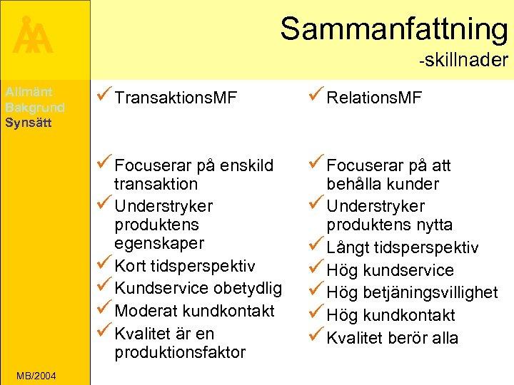 Sammanfattning Å A -skillnader ü Transaktions. MF ü Relations. MF ü Focuserar på enskild