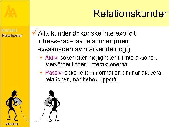 Å A Allmänt Relationer Relationskunder üAlla kunder är kanske inte explicit intresserade av relationer
