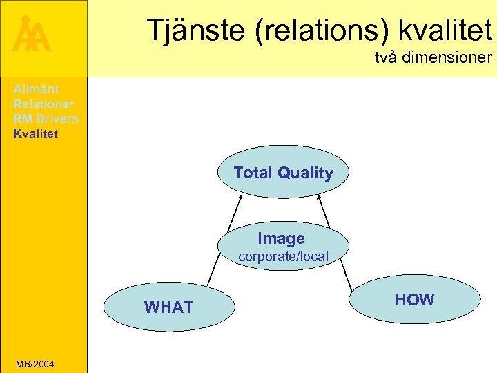 Å A Tjänste (relations) kvalitet två dimensioner Allmänt Relationer RM Drivers Kvalitet Total Quality