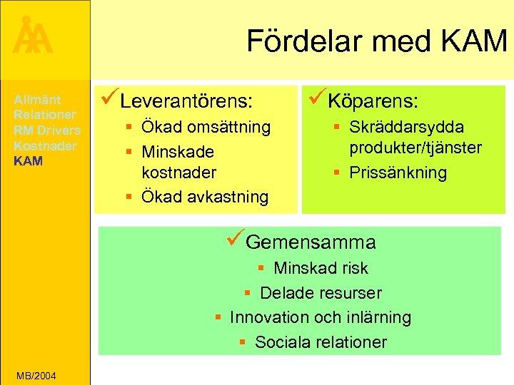 Å A Allmänt Relationer RM Drivers Kostnader KAM Fördelar med KAM üLeverantörens: § Ökad