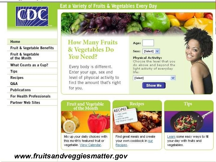 www. fruitsandveggiesmatter. gov