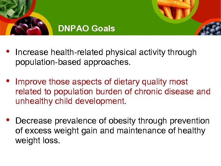 DNPAO Goals • Increase health-related physical activity through population-based approaches. • Improve those aspects