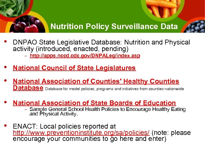 Nutrition Policy Surveillance Data • DNPAO State Legislative Database: Nutrition and Physical activity (introduced,
