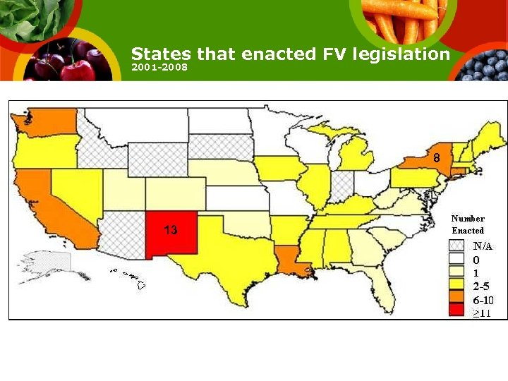 States that enacted FV legislation 2001 -2008 8 13