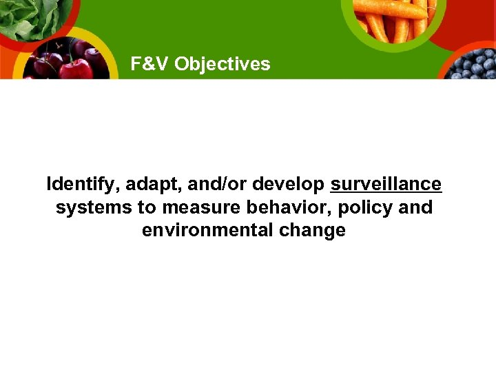 F&V Objectives Identify, adapt, and/or develop surveillance systems to measure behavior, policy and environmental