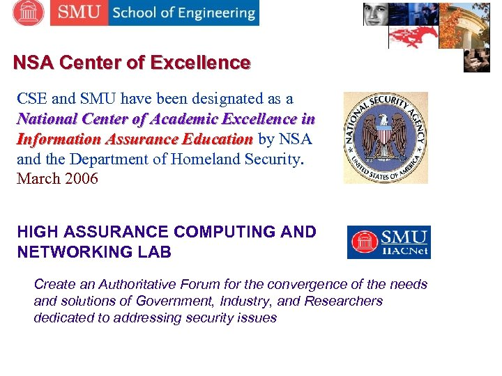 NSA Center of Excellence CSE and SMU have been designated as a National Center