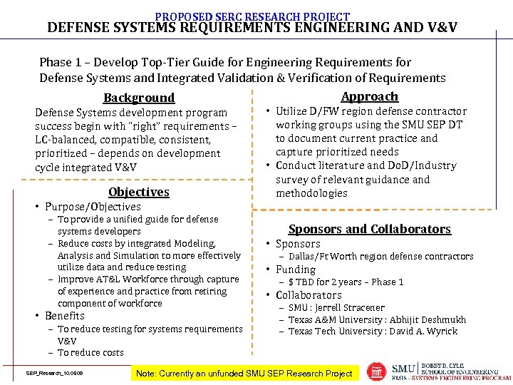 PROPOSED SERC RESEARCH PROJECT DEFENSE SYSTEMS REQUIREMENTS ENGINEERING AND V&V Phase 1 – Develop