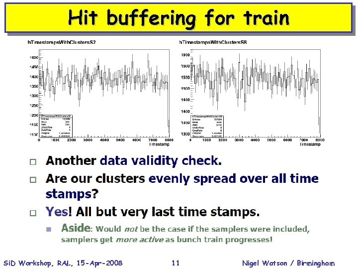 Hit buffering for train Si. D Workshop, RAL, 15 -Apr-2008 11 Nigel Watson /