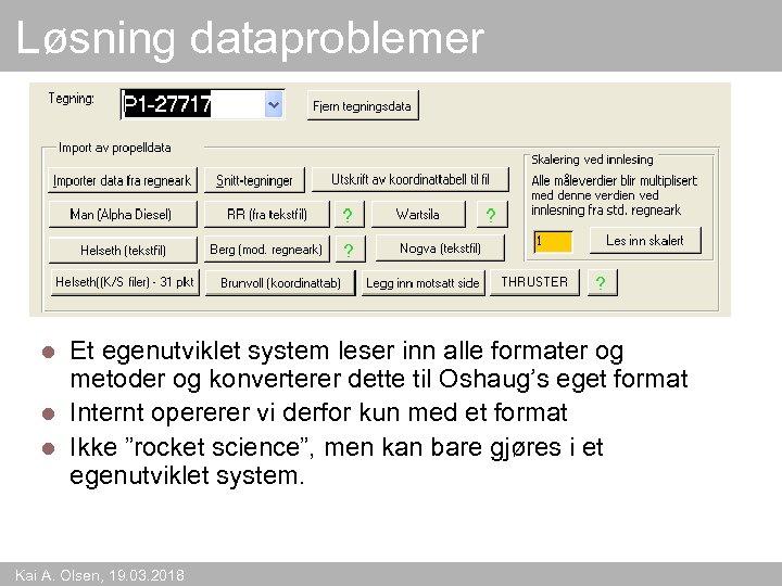 Løsning dataproblemer Et egenutviklet system leser inn alle formater og metoder og konverterer dette