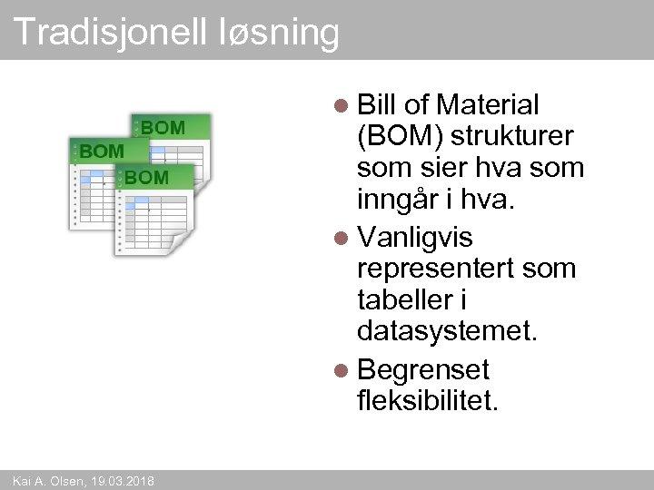 Tradisjonell løsning l Bill of Material (BOM) strukturer som sier hva som inngår i