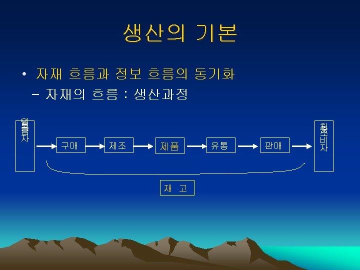 생산의 기본 • 자재 흐름과 정보 흐름의 동기화 - 자재의 흐름 : 생산과정 원