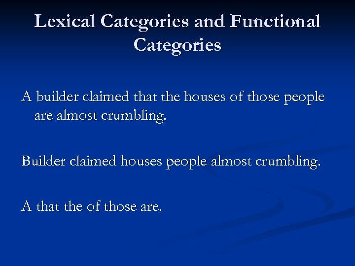 Lexical Categories and Functional Categories A builder claimed that the houses of those people