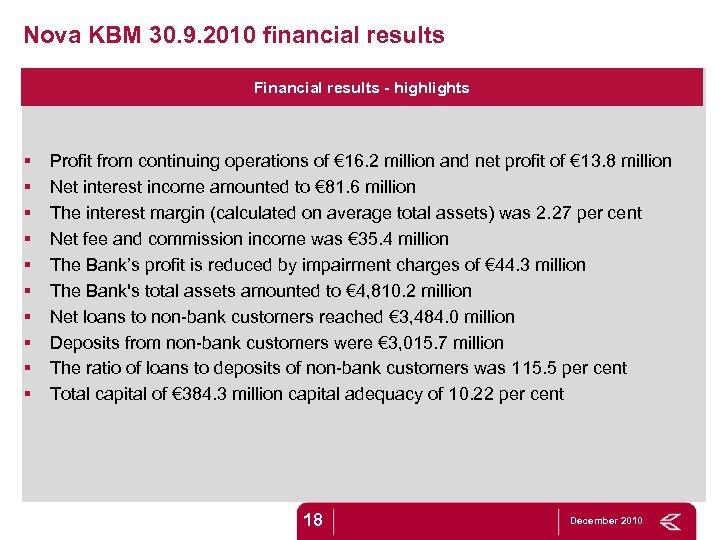 Nova KBM 30. 9. 2010 financial results Financial results - highlights § § §
