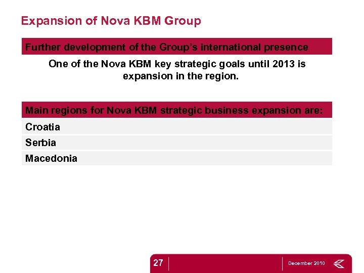Expansion of Nova KBM Group Further development of the Group's international presence One of