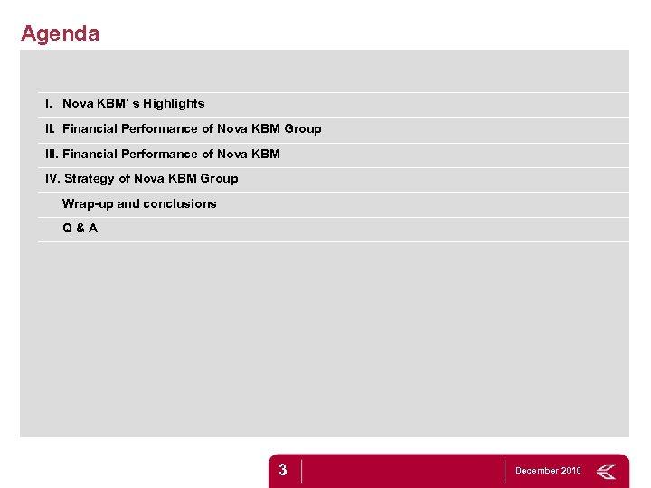 Agenda I. Nova KBM' s Highlights II. Financial Performance of Nova KBM Group III.