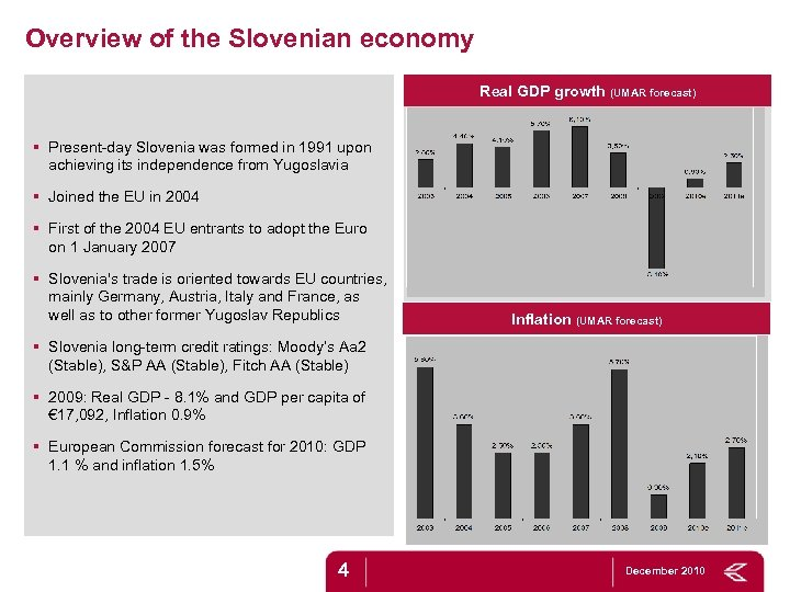 Overview of the Slovenian economy Real GDP growth (UMAR forecast) § Present-day Slovenia was