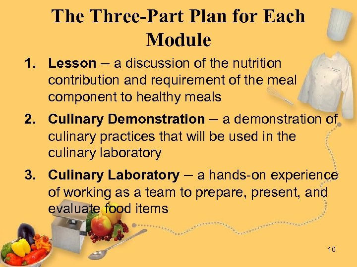 The Three-Part Plan for Each Module 1. Lesson – a discussion of the nutrition