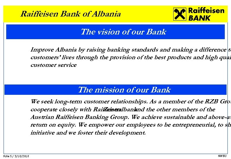 Raiffeisen Bank of Albania The vision of our Bank Improve Albania by raising banking