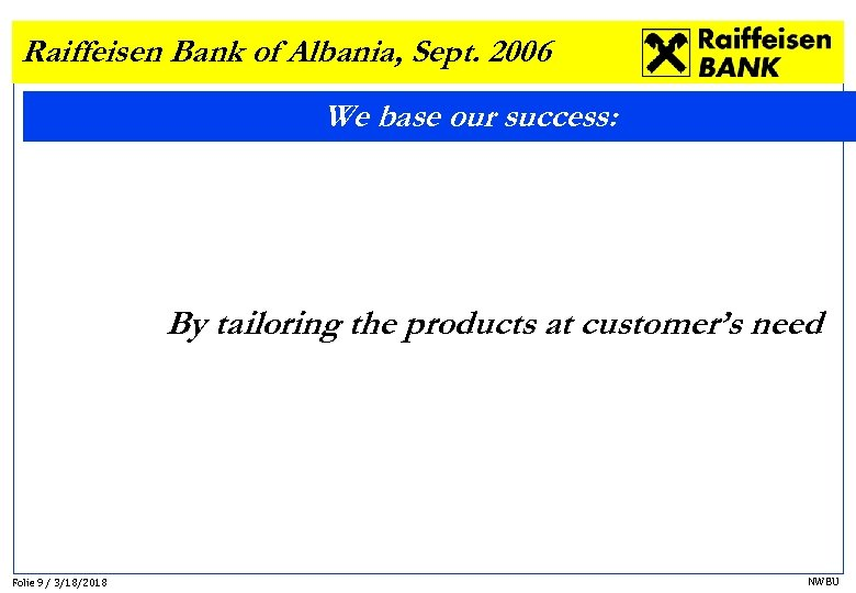 Raiffeisen Bank of Albania, Sept. 2006 We base our success: By tailoring the products
