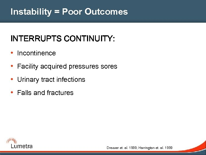 Instability = Poor Outcomes INTERRUPTS CONTINUITY: • Incontinence • Facility acquired pressures sores •