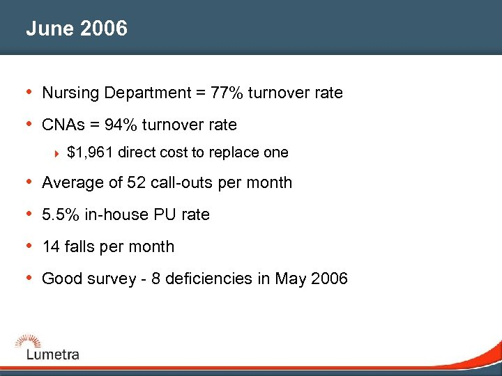 June 2006 • Nursing Department = 77% turnover rate • CNAs = 94% turnover