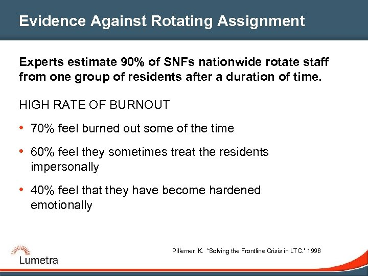 Evidence Against Rotating Assignment Experts estimate 90% of SNFs nationwide rotate staff from one