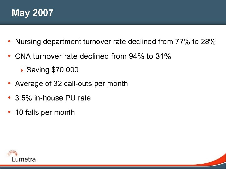 May 2007 • Nursing department turnover rate declined from 77% to 28% • CNA