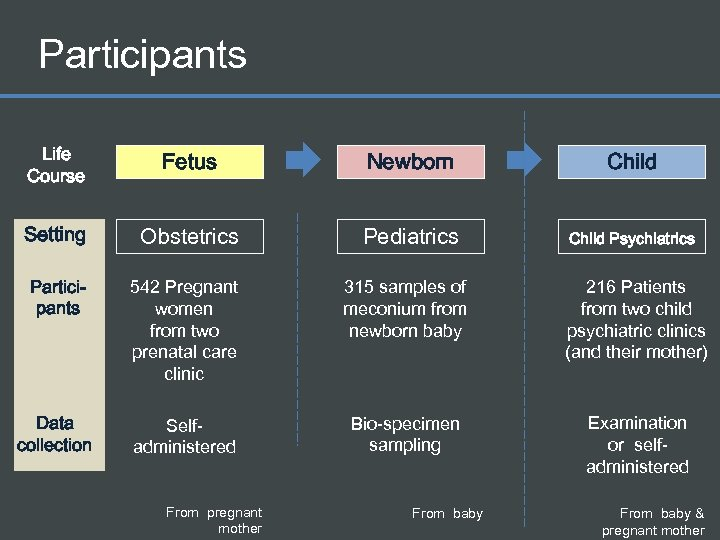 Participants Life Course Fetus Newborn Child Setting Obstetrics Pediatrics Child Psychiatrics Participants 542 Pregnant