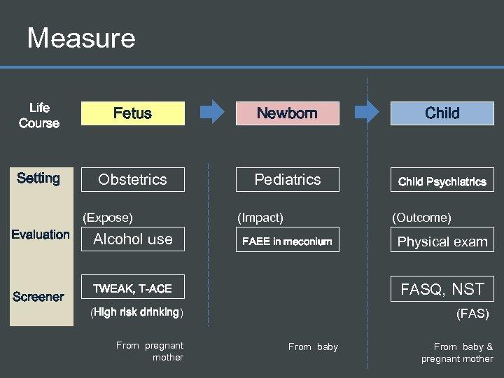 Measure Life Course Fetus Newborn Child Setting Obstetrics Pediatrics Child Psychiatrics (Expose) Evaluation Screener