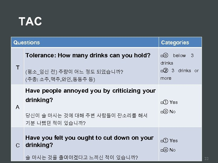 TAC Questions Tolerance: How many drinks can you hold? T Categories □ⓞ below 3