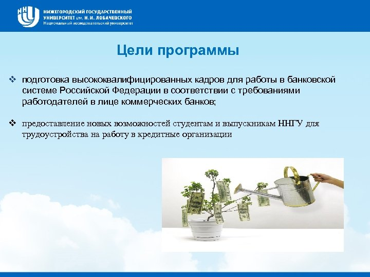 Цели программы v подготовка высококвалифицированных кадров для работы в банковской системе Российской Федерации в