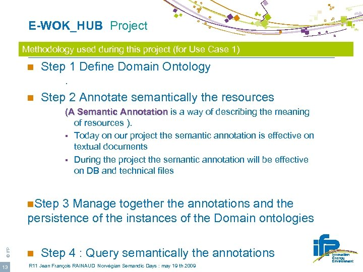 E-WOK_HUB Project Methodology used during this project (for Use Case 1) n Step