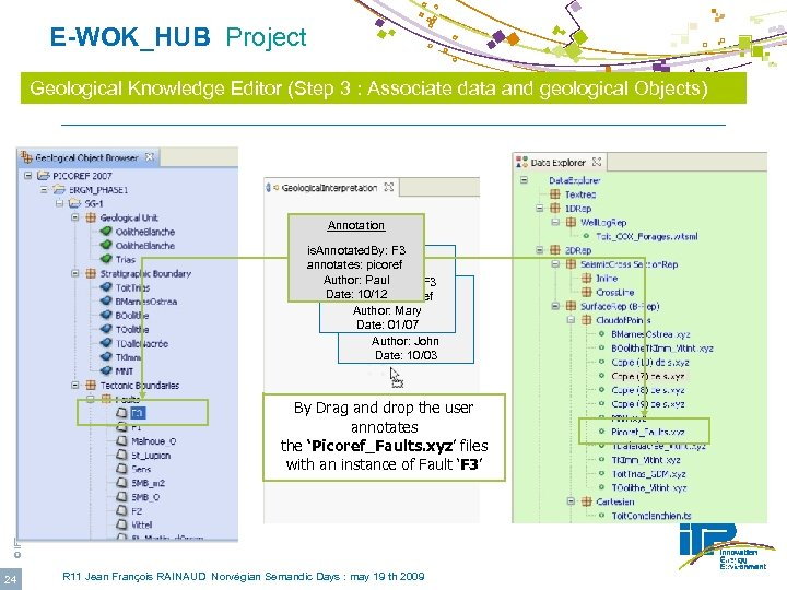 E-WOK_HUB Project Geological Knowledge Editor (Step 3 : Associate data and geological Objects)