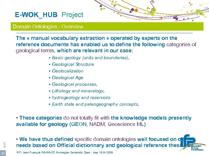 E-WOK_HUB Project Domain Ontologies : Overview The « manual vocabulary extraction » operated