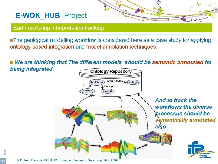 E-WOK_HUB Project Earth modeling interpretation tracking n. The geological modelling workflow is considered