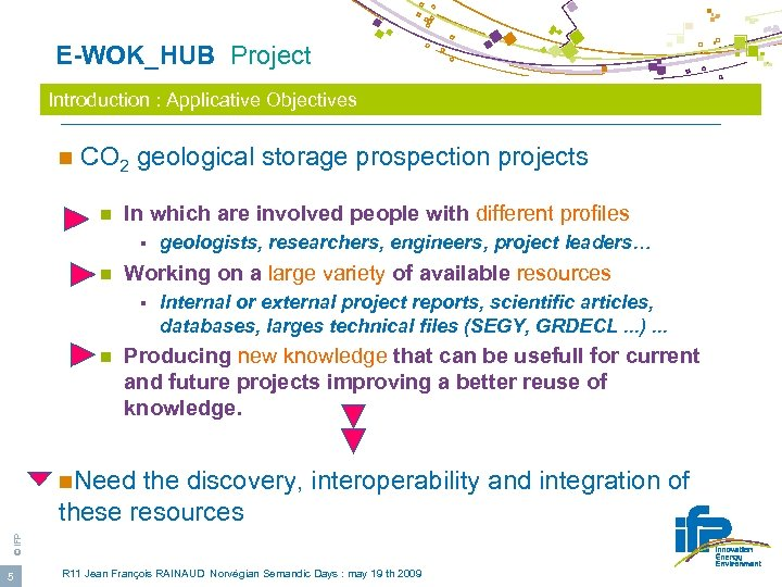 E-WOK_HUB Project Introduction : Applicative Objectives n CO 2 geological storage prospection projects