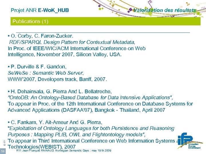 Projet ANR E-Wo. K_HUB Valorisation des résultats Publications (1) • O. Corby, C. Faron-Zucker.